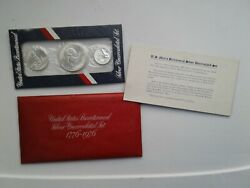 1776-1976 United States Bicentennial Silver Uncirculated Set 3 Pc. Us Mint