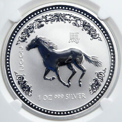 2002 Australia Year Of Horse Vintage Antique Old Silver Dollar Coin Ngc I88908