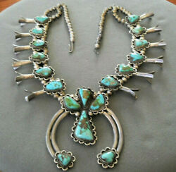 Native American Navajo Royston Turquoise Sterling Silver Squash Blossom Necklace