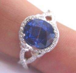 18kt Gem Blue Sapphire And Diamond Solitaire With Accent Jewelry Ring 3.45ct
