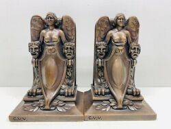 Vintage Jennings Brothers Art Deco Winged Nude With Masks Book Ends 1529