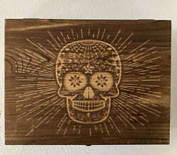 New Atterstone Tequila Set - Candy Skull Wooden Box W/ Cutting Board And Glasses