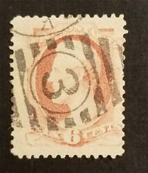 Number 3 Fancy Cancel - Us Scott 159 6c Abraham Lincoln Stamp Used T6716
