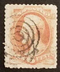 Fancy Cancel - Us Scott 148 6c Abraham Lincoln Stamp Used T6700