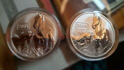 Two Coins Tokelau 1 Oz Silver .999 Fine Reverse Proof Year Of The Horse 5 Coin