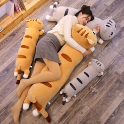 Cute Cartoon Happy Cat Plush Toy Sleeping Pillow Doll Home Decoration Gift