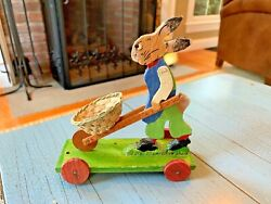 Antique German Rabbit Pull Toy Platform Wood Wooden Germany Easter Bunny Cart