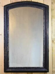 Large Louis Philippe Style Mirror With Black Painted Walnut Frame - 19th Century
