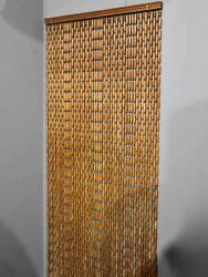 1970and039s French Wooden Bead Curtain 29andfrac12 X 112andfrac14