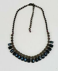 Sorrelli Retired Electric Blue Crystals Necklace Antiqued Brass Tone 16 To 21