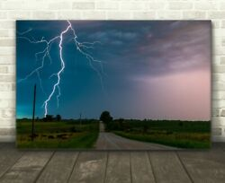 Canvas Lightning Photography Wall Art Nature Photo Country Landscape Home Decor