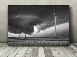 Metal Black And White Tornado Photography Wall Print Wind Turbine Photo Picture