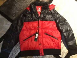 Body Glove Men#x27;s Down Filled Jacket Racing Red Large removable hood