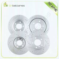 Front + Rear Drilled And Slotted Brake Rotors For 2001 2002 2003 Bmw 530 E39