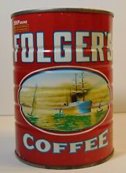 Vintage 1980 Folgers Graphic Coffee Tin 1 Pound Coffee Can Bank Folger's Coffee