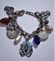 Vintage Coro Faux Coin Heraldic Charms Silver Plated Bracelet Costume Jewelry