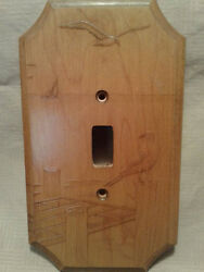 Vintage Wood Embossed Light Switch Plate Cover Seagull Seascape Nature Scene