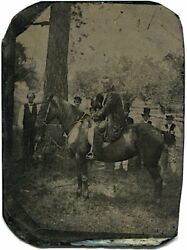 Man On Horse And 6 Other Men 1850s Outdoor Ferrotype Tintype Photo