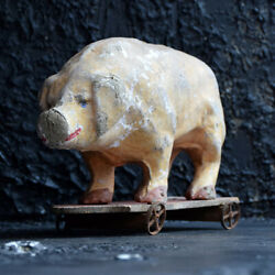 Early 20th Century French Pull Along Papier Mache Toy Pig