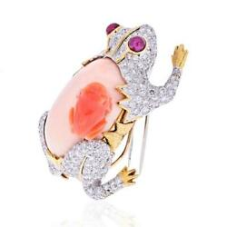 David Webb Platinum And 18k Gold Frog With A Baby Frog In Diamonds And Coral Brooch