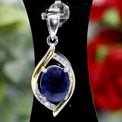 Natural 7 X 9 Mm. Oval Cut Blue Sapphire And White Cz Pendant 925 Sterling Silver
