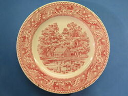 Decorative Collectible Red Porcelain Plate Memory Lane Royal Ironstone - Ohio