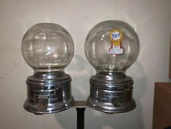 Vintage Ford Gum Gumball Machine Double Glass Globe With Original Rare Stand