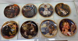 Lot Of 8 - 8.5 Knowles Norman Rockwell Collector Plates W Coa's 1984