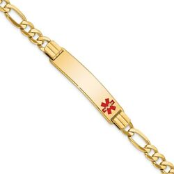 Real 14k Yellow Gold Medical Red Enamel Flat Figaro Link Id Chain Bracelet