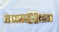 Vintage Tourneau Swiss Ladies Luxurious 14k Gold Watch And Band