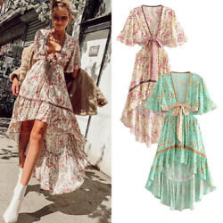 Women Ladies Summer Long Maxi Dress Boho Holiday Beach Party Cocktail Sundress