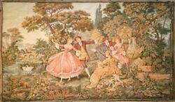 ANTIQUE WALL WOVEN TAPESTRY made in French or Belgian DANCE SCENE 46quot; X 27quot;