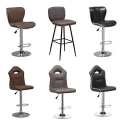 Set Of 2 Bar Stools Pub Dining Chair Leather Adjustable Hydraulic Swivel Office