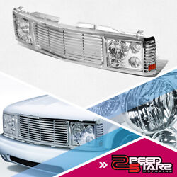 Front Grille + 2pcs Headlights Lamp For 1994-2000 Gmc Chevy C/k Pickup Suburban