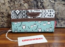 UnionBay Zip Around Wristlet Wallet Teal Owl Pattern Double Compartment NWT $19.95