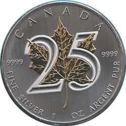 2013 Canadian Maple Leaf Special Edition 25th Anniversary Gold Plated Leaf 5 Co