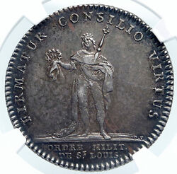 1750 France King Louis Xvi St Louis Army Order Silver French Medal Ngc I87854