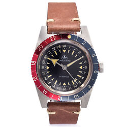 Vintage Ollech And Wajs Early Bird 20 Atm 17jewels Hand Wind Menand039s Dive Watch 37mm