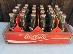 Vintage Coca Cola Crate With 4 Cartons And 24-6 1/2 Bottles Unopened