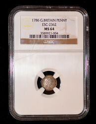 Ngc Ms 64 1786 Great Britain George Iii Silver Penny Toned