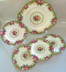 Vintage Paragon Tapestry Rose Bone China Set, Cookie Plate And 4 Dessert Plates