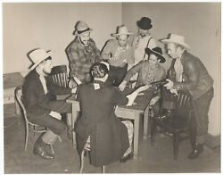 Large 1939 Ggie World's Fair Photo Of Western Characters Playing Cards