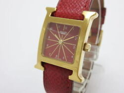 Hermes H Watch Hh1.201 Quartz Gold Plate Red Dial Leather Women's