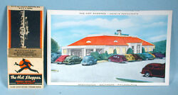 1940s Hot Shoppes Drive-in Restaurant Promotional Postcard And Matchbook Cover