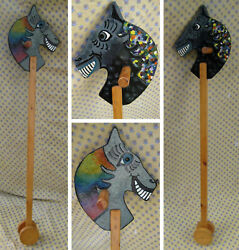 Vintage Up-cycled Hand Painted Pine Wood Wooden Hobby Horse Children's Toy