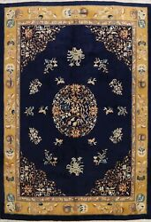 Vintage Navy Blue Art Deco Chinese Area Rug Hand-knotted Dining Room 9x12 Carpet