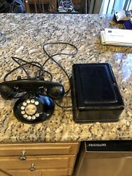 Antique Western Electric Bell Dial Desk Phone, D1 Base, 1930s With Ringer Box