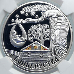 2012 Belarus Fatherhood Stork Baby Dna Color Proof Silver 20 Rouble Coin I89090