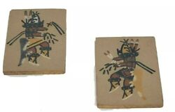 """Signed 1978 2 Navajo Sand Paintings By Ernest Hunt 4x6"""""""