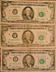 1969-c 100 United States Federal Reserve Notes Lot Of Three